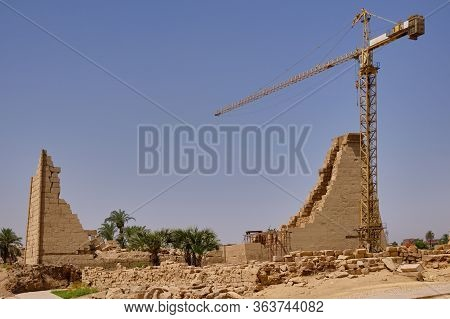 Luxor / Egypt - May 23 2019: Remains Of Karnak Temple Complex And Karnak Open Air Museum (about 1250