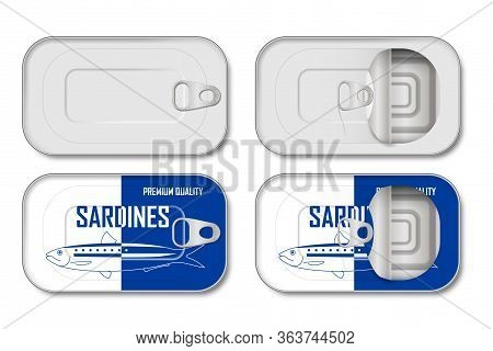 Realistic Empty Tin Can With Label And Without. Sardine Tin Can Mockup Top View Isolated. Vector Ill