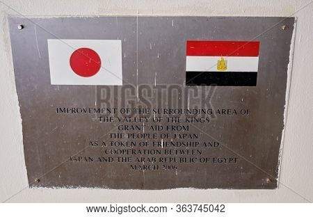 Luxor / Egypt - May 23 2019: Plaque Informing About The Grant Aid From Japan To Egypt For Restoratio