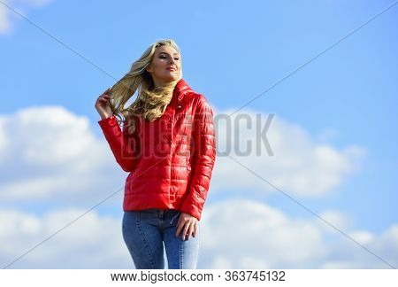 Female Psychology. Windy Day. Matching Style And Class With Luxury And Comfort. Girl Red Jacket Clou