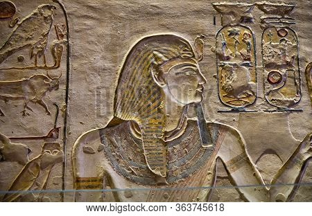 Luxor / Egypt - May 23, 2019: Ancient Paintings And Egyptian Hieroglyphs At The Pharaoh Tomb In The