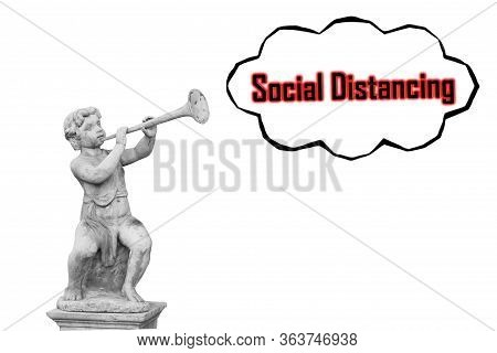 Boy With Horn Statue For Announcement Concept Social Distancing.