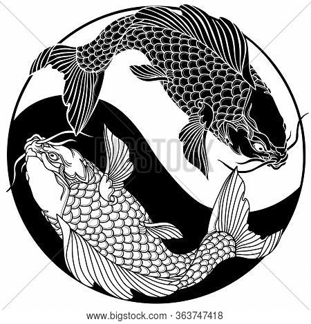 Two Koi Carp Fishes In The Circle Of Yin Yang Symbol. Tattoo. Black And White Vector Illustration