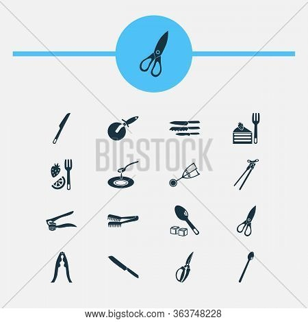 Kitchenware Icons Set With Kitchenware, Spaghetti Tongs, Sugar Spoon And Other Dishware Elements. Is