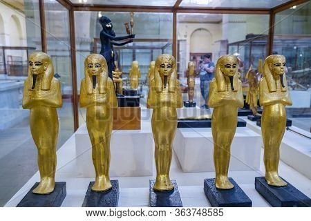 Golden Statuettes Depicting Pharaoh, Museum Of Egyptian Antiquities (egyptian Museum)