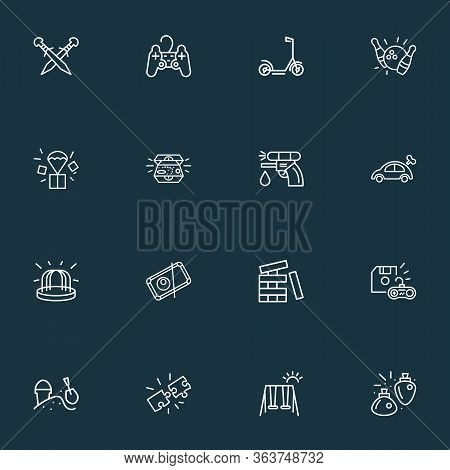 Hobby Icons Line Style Set With Playstation Joystick, Puzzles, Save Game And Other Playground Elemen