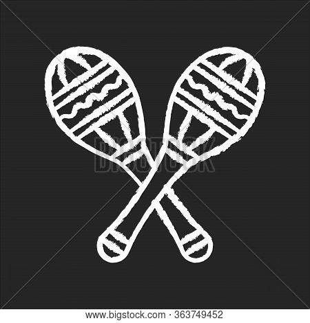 Maracas Chalk White Icon On Black Background. Traditional Musical Instrument For Ethnic Festival. Cr