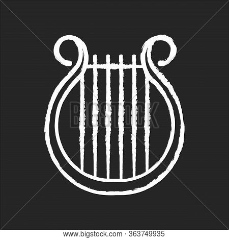 Lyra Chalk White Icon On Black Background. Classical Music. Orchestra String Musical Instrument. Ope