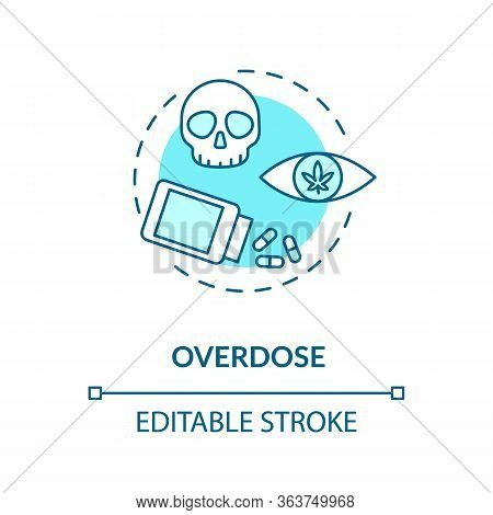 Overdose Concept Icon. Cannabis Lethal Dose Idea Thin Line Illustration. Marijuana Consumption Probl