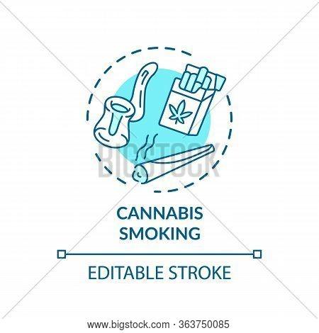 Cannabis Smoking Concept Icon. Marijuana Consumption, Recreational Hemp Idea Thin Line Illustration.