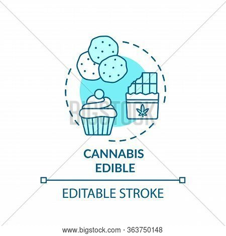 Cannabis Edible Concept Icon. Marijuana Infused Food, Hemp Snacks Idea Thin Line Illustration. Delic