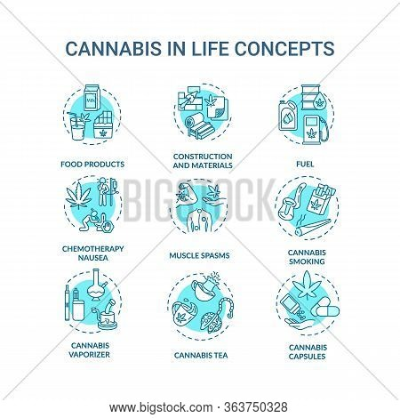Cannabis Concept Icons Set. Marijuana Use, Light Drugs Idea Thin Line Rgb Color Illustrations. Recre