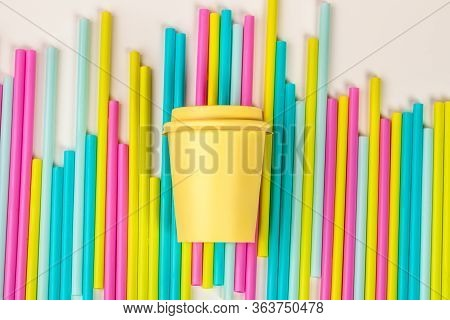 Colorful Straws For Beverage Soft Drink On Colored Background