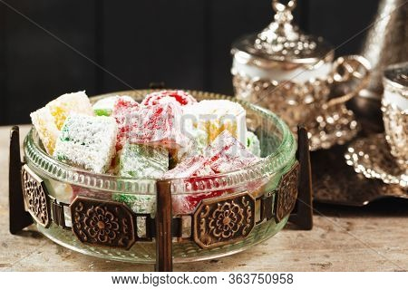 Traditional Turkish Coffee And Turkish Delight. Close Up.