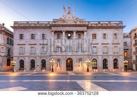 Casa De La Ciutat, City Hall Of Barcelona On The Placa De Sant Jaume In The Gothic Quarter Of Barcel
