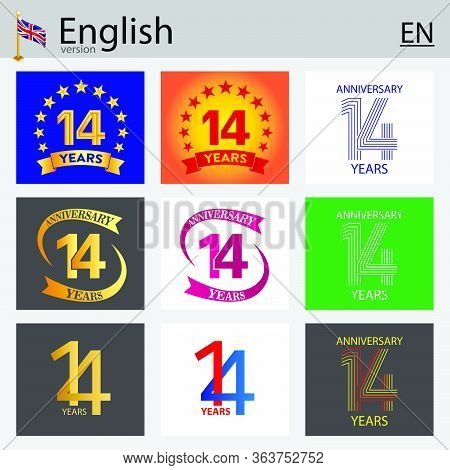 Set Of Number Fourteen Years (14 Years) Celebration Design. Anniversary Vector Number Template Eleme