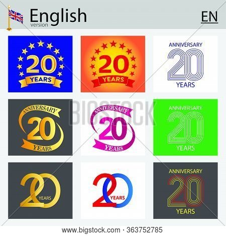 Set Of Number Twenty Years (20 Years) Celebration Design. Anniversary Vector Number Template Element