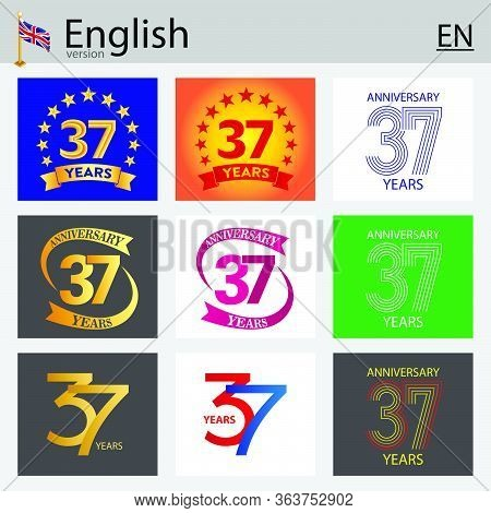 Set Of Number Thirty-seven Years (37 Years) Celebration Design. Anniversary Vector Number Template E