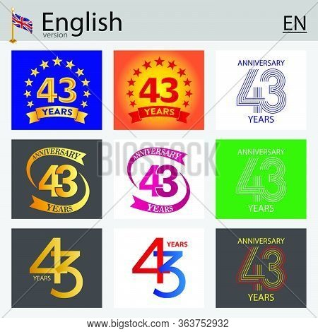 Set Of Number Forty-three Years (43 Years) Celebration Design. Anniversary Vector Number Template El
