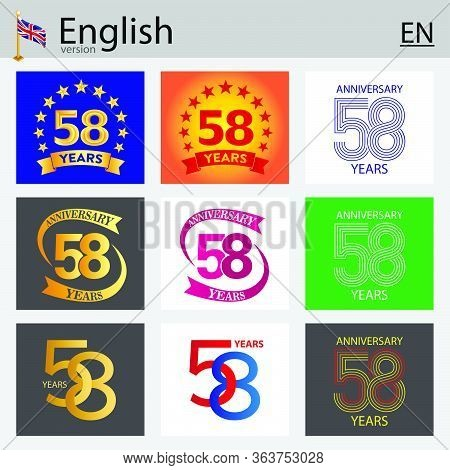 Set Of Number Fifty-eight Years (58 Years) Celebration Design. Anniversary Vector Number Template El