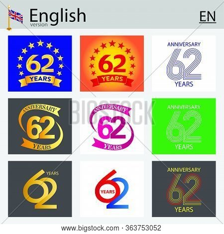 Set Of Number Sixty-two Years (62 Years) Celebration Design. Anniversary Vector Number Template Elem