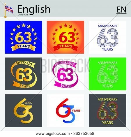 Set Of Number Sixty-three Years (63 Years) Celebration Design. Anniversary Vector Number Template El