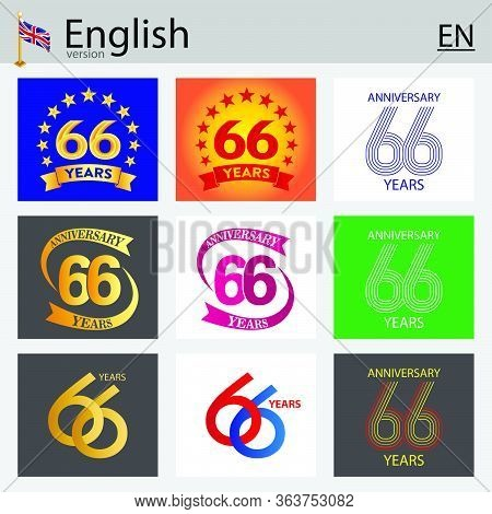 Set Of Number Sixty-six Years (66 Years) Celebration Design. Anniversary Vector Number Template Elem