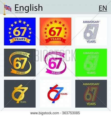Set Of Number Sixty-seven Years (67 Years) Celebration Design. Anniversary Vector Number Template El
