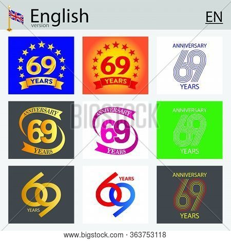 Set Of Number Sixty-nine Years (69 Years) Celebration Design. Anniversary Vector Number Template Ele
