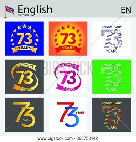 Set Of Number Seventy-three Years (73 Years) Celebration Design. Anniversary Vector Number Template