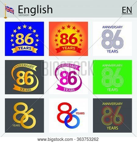 Set Of Number Eighty-six Years (86 Years) Celebration Design. Anniversary Vector Number Template Ele