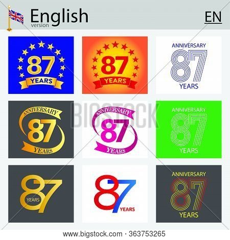 Set Of Number Eighty-seven Years (87 Years) Celebration Design. Anniversary Vector Number Template E