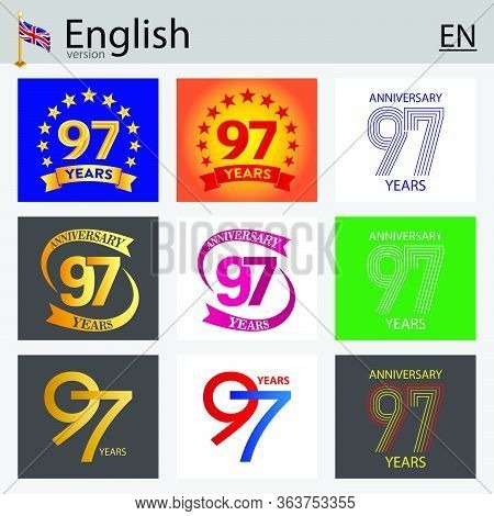 Set Of Number Ninety-seven Years (97 Years) Celebration Design. Anniversary Vector Number Template E