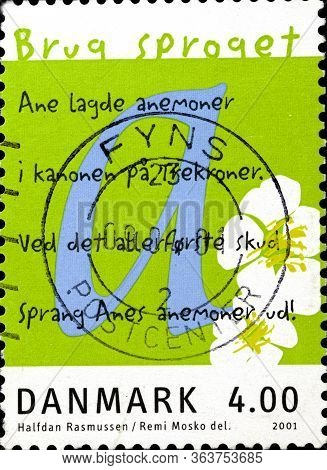 02 10 2020 Divnoe Stavropol Territory Russia The Denmark Postage Stamp 2001 Use The Language Europea