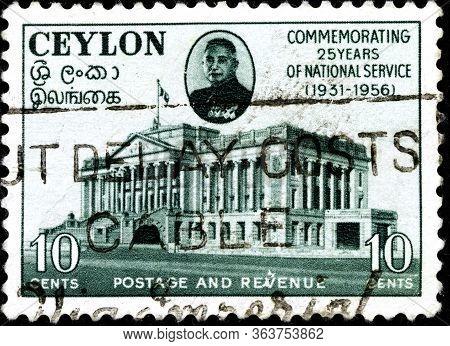 02 10 2020 Divnoe Stavropol Territory Russia The Postage Stamp Ceylon 1956 John Kotelawala, 1897-198