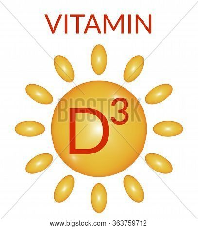 The Concept Of Vitamins, D3, The Sun, The Health Of The Body, The Energy Of The Sun. Vector Illustra