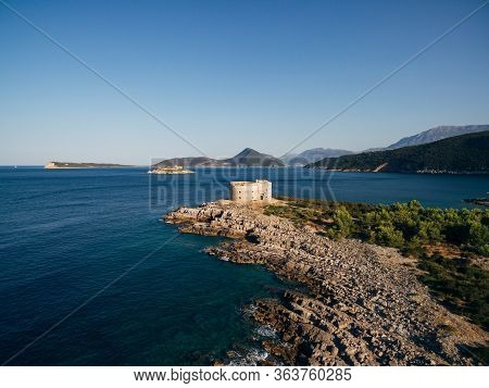 Fort Arza In The Bay Of Kotor In Montenegro, In The Adriatic Sea, On The Peninsula Of Lustica. Fortr