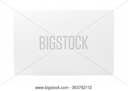Top View Of Isolated White Placemat For Food. Empty Space For Your Design