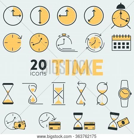 Set Of 20 Vector Icons With Time And Money Related Objects. It Uncludes Hourglasses, Watches, Clock,