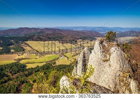 Mountain Landscape In Spring Time. View From The Hill Called Zibrid In The National Nature Reserve S