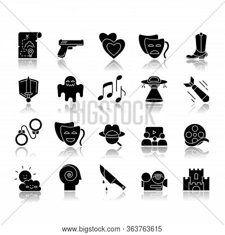 Movie Genres Drop Shadow Black Glyph Icons Set. Cinematography, Filmmaking Industry, Cinema Business