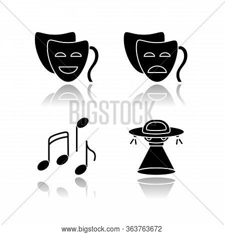 Traditional Movie Genres Drop Shadow Black Glyph Icons Set. Funny Comedy, Serious Drama, Musical And