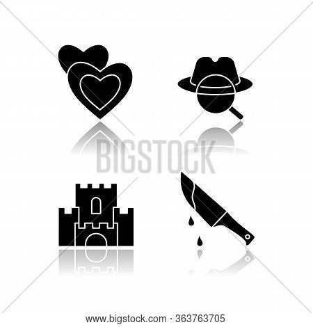 Popular Movie Types Drop Shadow Black Glyph Icons Set. Romantic Films, Detective Mystery, Fantasy An