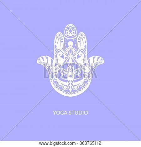 Hamsa Hand, Vector Illustration Of Religious Sign With All Seeing Eye. Yoga Studio Symbol. White Ill