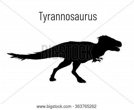 Tyrannosaurus. Theropoda Dinosaur. Monochrome Vector Illustration Of Silhouette Of Prehistoric Creat
