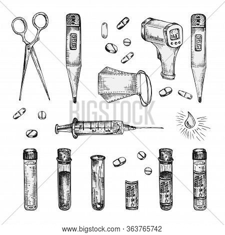 Set Of Ink Sketch Medical Icon Mask, Pills, Syringes, Injections, Drugs, Thermometer, Sanitizer, Sci