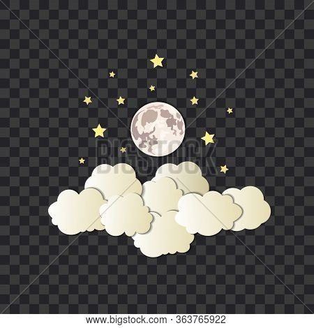 Vector Cumulus Clouds, Stars And Moon On The Dark Transparent Background, Isolated Illustration Temp