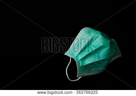 Surgical Mask (doctor) Isolated On Black Background - For Prevent Dust (pm 2.5), Disease (coronaviru
