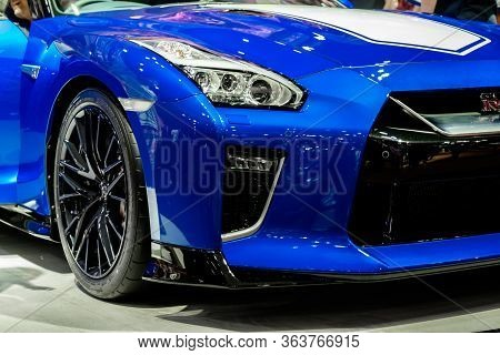 The Front View Of 50Th Anniversary Nissan Gtr R35 Showcase At Thailand Motor Expo 2019
