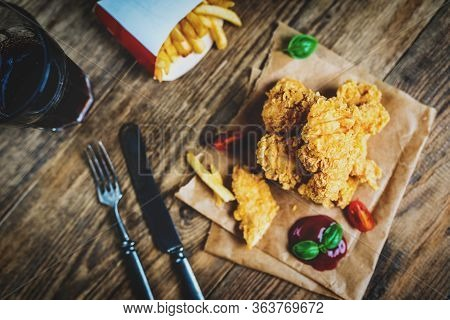 Fast Food Chicken Breast Strips And French Fries